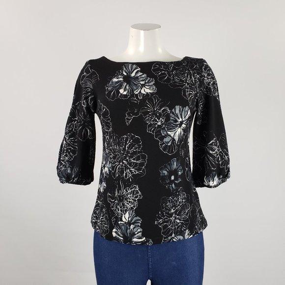 Alton Gray Black Flower Print Top Size S